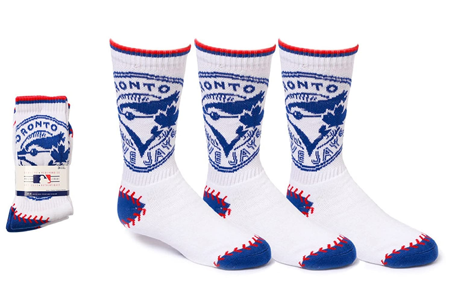 MLB Boys Toronto Blue Jays 3-Pack Crew Socks (Shoe Size 3-6) SPORTICUS