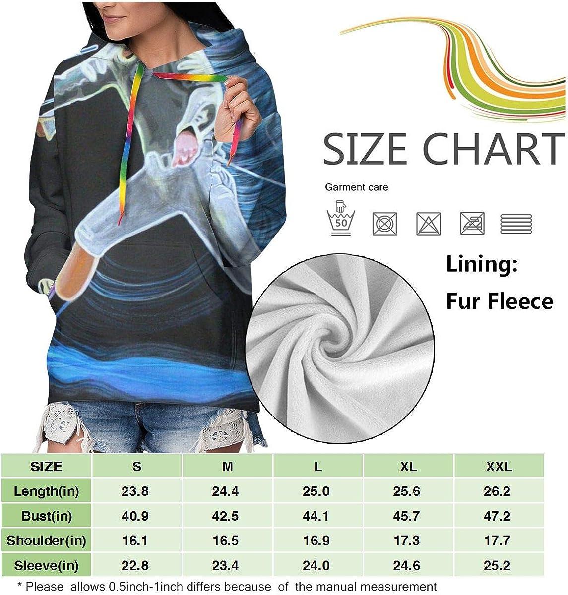 Fencing Painting Womens Long Sleeve Pullover Hooded Sweatshirt Top Hoodie with Fleece Lining