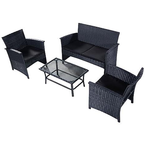 4pcs Conjunto muebles de jardín de ratán hierro Mesa con ...