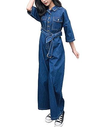 Amazoncom Youndcc Women Denim One Piece Jean Jumpsuit Long Sleeve