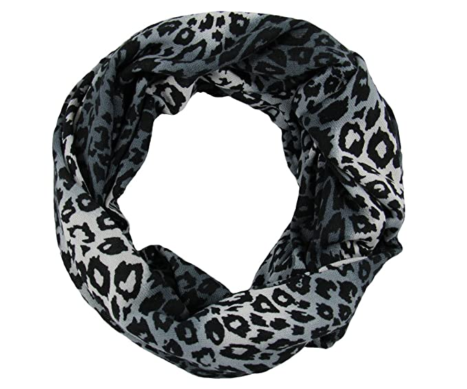 Rw Soft Cozy Knit Leopard Small Print Infinity Scarf Black At