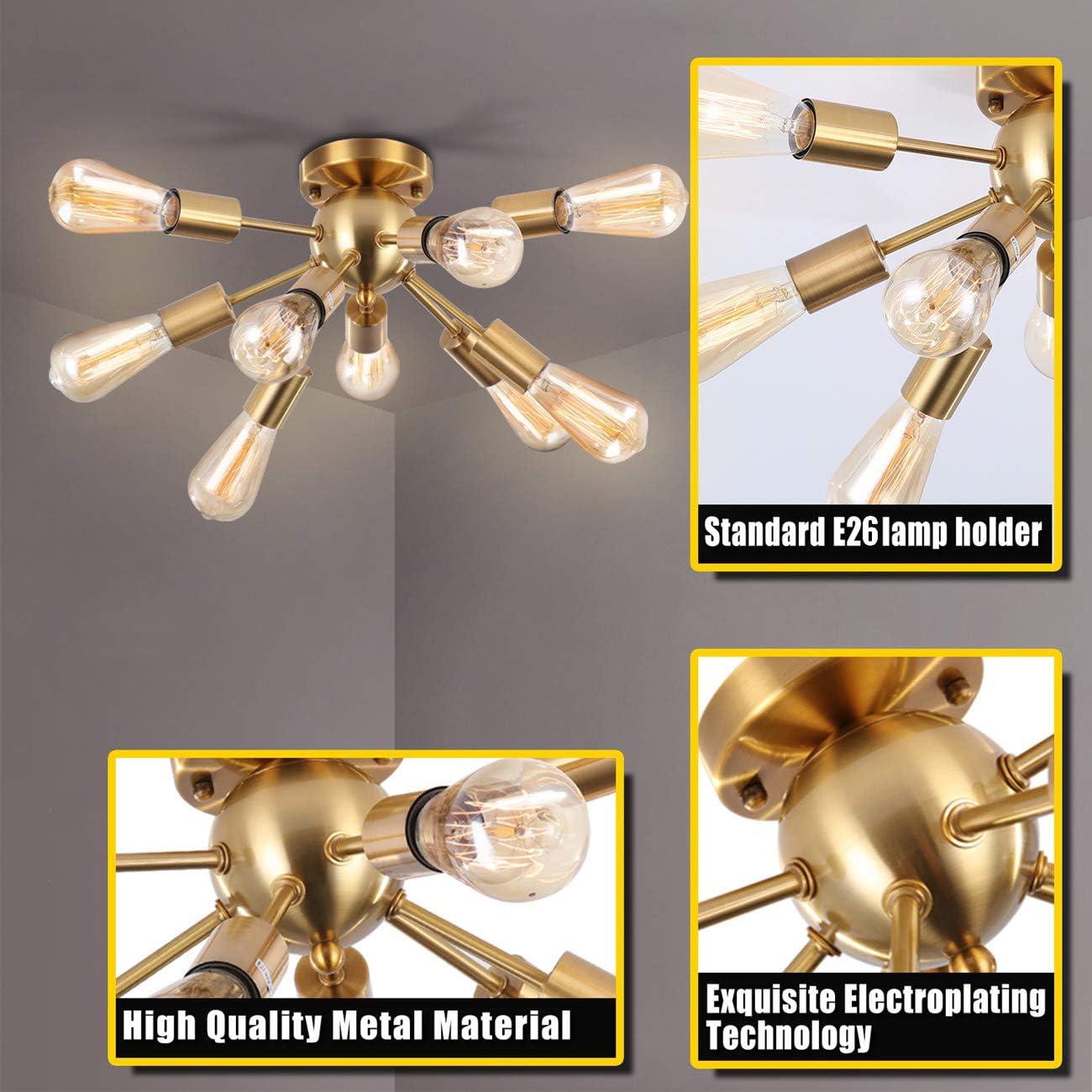 SUNVP Sputnik Ceiling Light Black Modern Gold Chandelier Pendent Light Fixture with 9 E26 Lamp Socket for Living Room Bedroom Kitchen Hallway Bar