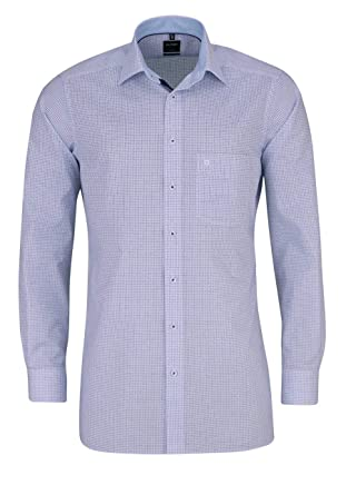 Hemd OLYMP body fit Gr. 40 blau weiß kariert extra langer Arm