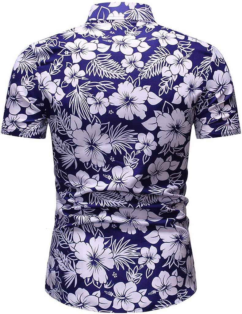 Mens Slim Fit Printed Flower Hawaiian Shirt Casual Tropical Beach Holiday Short Sleeve Button Down Shirt