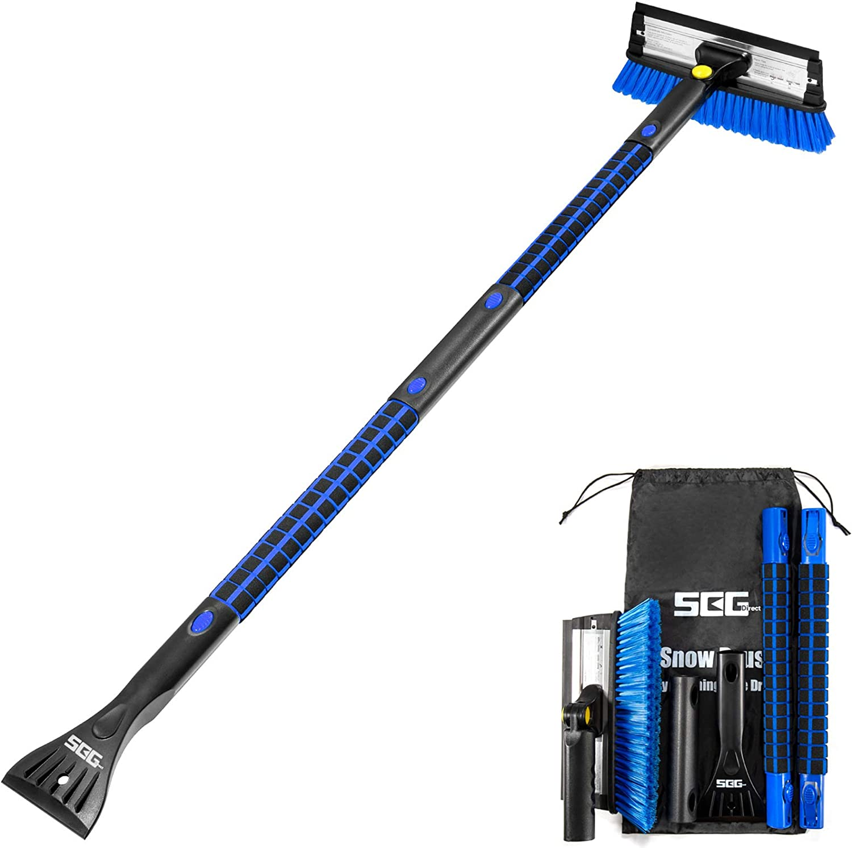 Blue SEG Direct 3 in 1 Detachable Snow Brush 130CM Ice Scraper Combination with Foam Grip Handle Auto Window Windshield Snow Removal Tool for Car SUV RV Truck
