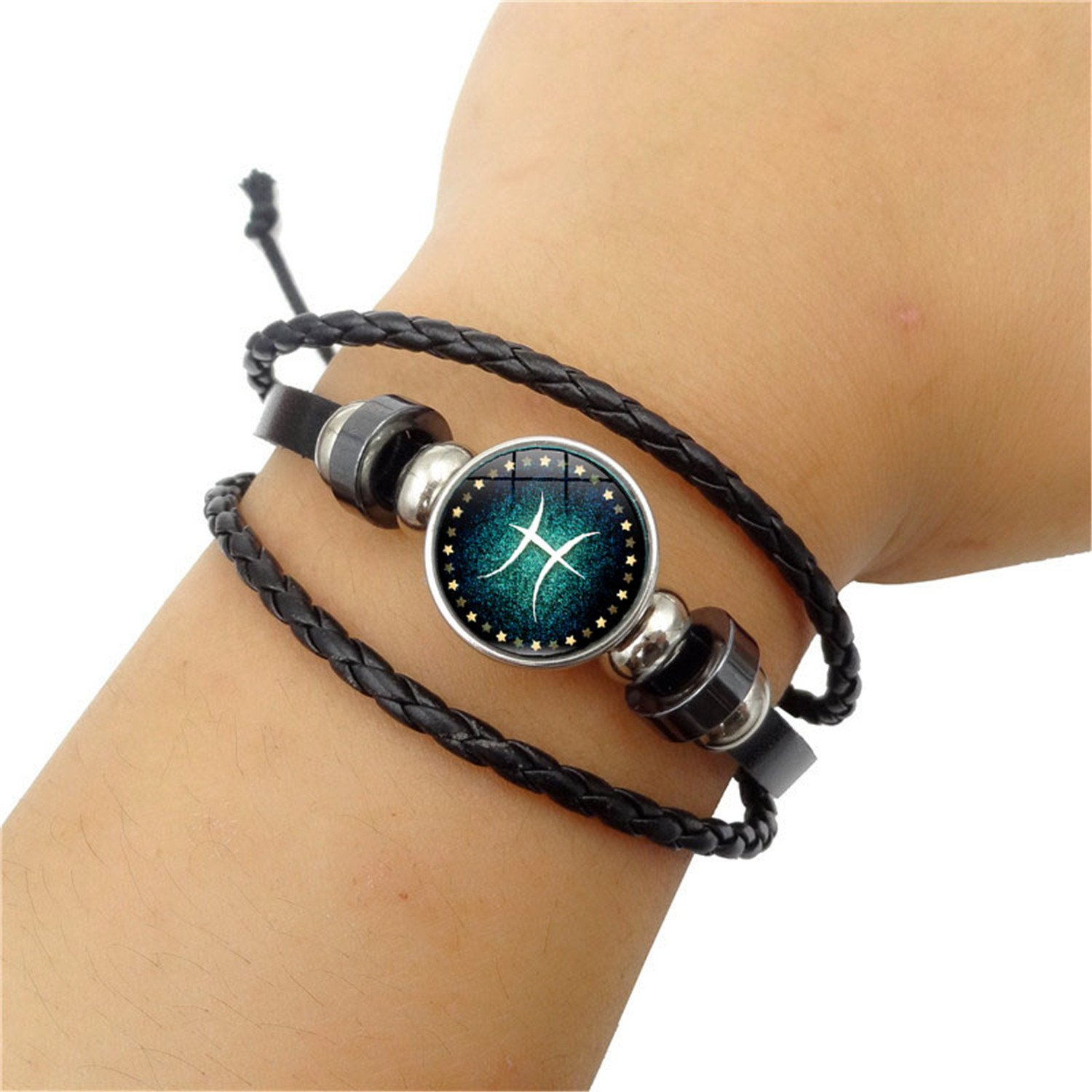 Fashion 12 Constellations Beaded Hand Woven Leather Bracelet and Moon Pendant Necklace Zodiac Sign Jewelry Set