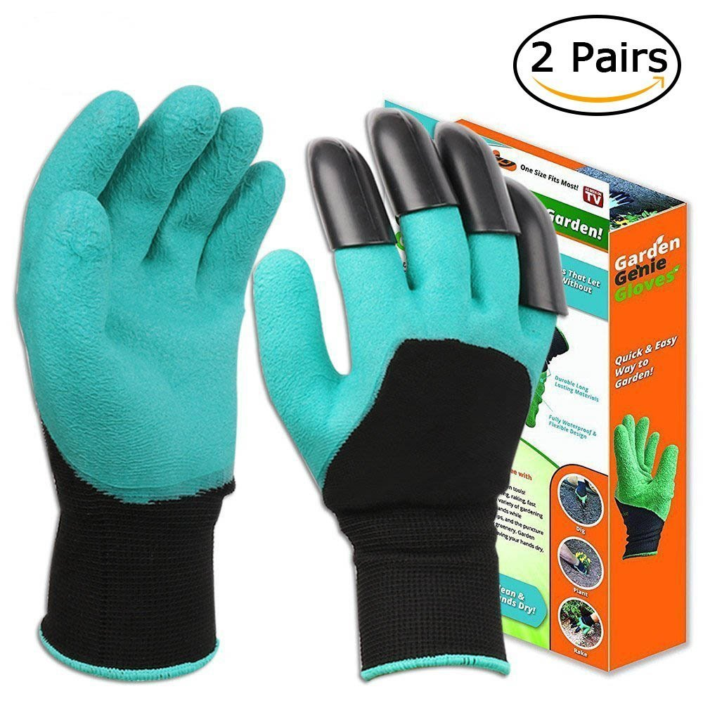 Garden Genie Gloves with Fingertips Claws, DIWENHOUSE Waterproof Gardening Yard Work Gloves for Digging Weeding Seeding Poking, Rose Pruning Gloves Mittens Digging Gloves, 2 Pairs