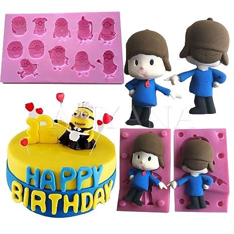 Anyana 3d silicona Fondant molde para Macking Pocoyo Minions Despicable Me para tartas Candy Chocolate molde