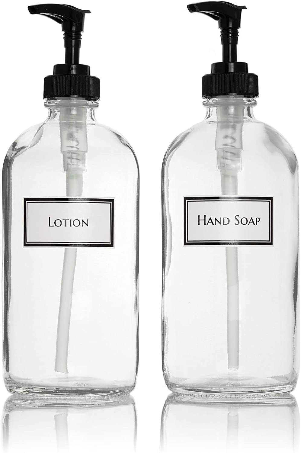 Ceramic Printed Glass Hand Soap and Lotion Dispenser Set with Black Pumps, 16 oz, Clear