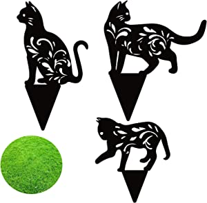 3 Pieces Metal Cat Garden Statues for Yard Decor, Hollow Black Cat Outdoor Ornaments Silhouette Animal Stakes for Yard Decor and Lawn Ornaments