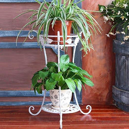 iVansa Stand para macetas, Estanteria para macetas de Metal, Escalera para macetas de Plantas y Flores con 2 Niveles para Decoración Exterior Interior Jardín, 38×22×54, 5cm: Amazon.es: Jardín