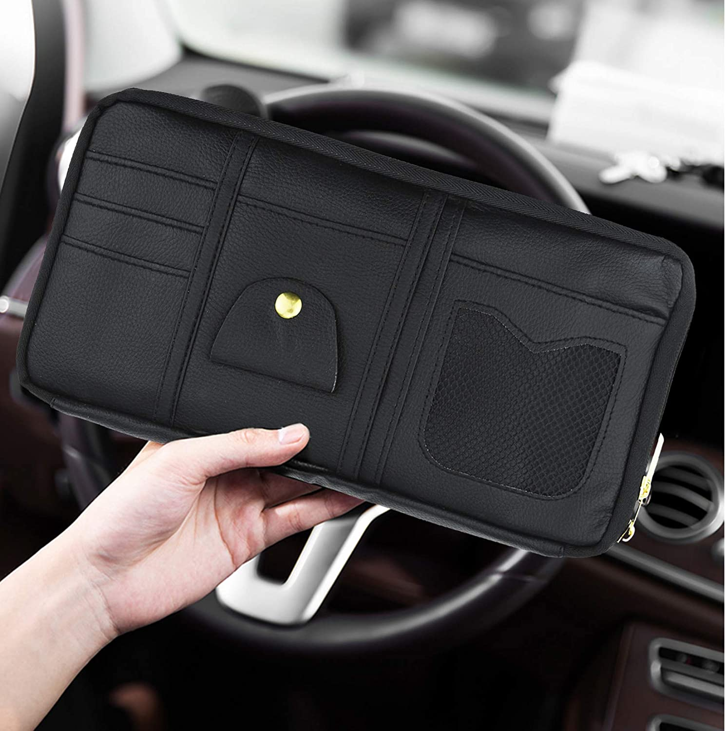 Pistha Car Visor Organizer Truck SUV Leather Storage Holder with Double Zippers and Multiple Pockets