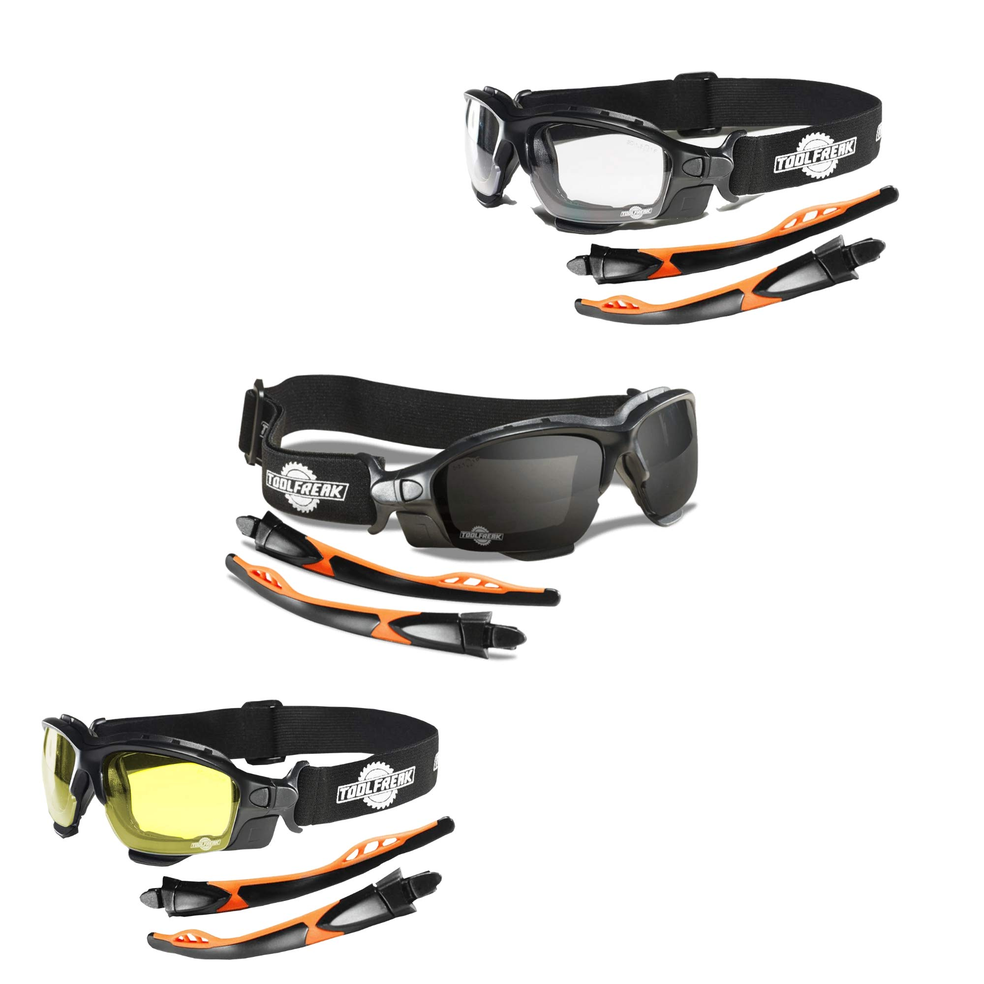 ToolFreak Spoggles Work and Sports Safety Glasses, Clear, Smoke and Yellow Tinted Lens Mega Bundle Offer, Foam Padded, ANSI z87 Rated with Impact and UV Protection by ToolFreak