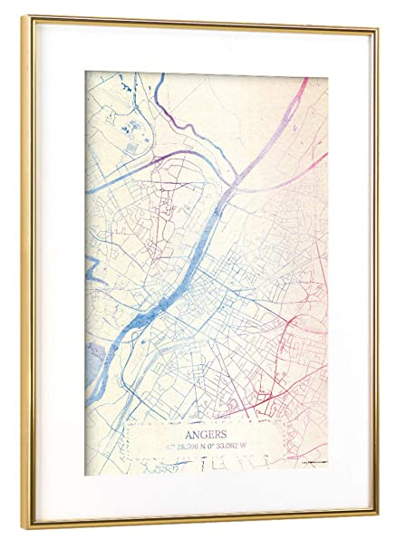 Artboxone Framed Poster Gold 30x20 Cm Angers France Map Rose And