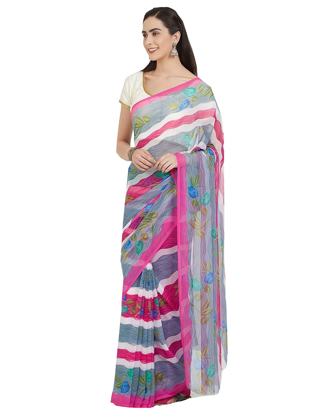 Nanda Silk Mills Multicolor Printed Chiffon Saree with Blouse Piece JF-Stripes-Pink