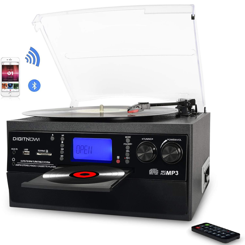 Tocadiscos Bluetooth Plato Giradiscos Vinilo,CD,Cassette,Encoding,USB,SD,MMC,AM//FM,3 velocidades,33//45//78 RPM con Altavoces Incorporados