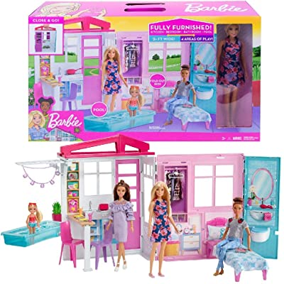 Barbie Doll and Dollhouse, Portable 1-Story Playset with Pool and Accessories, for 3 to 7 Year Olds​​​​: Toys & Games