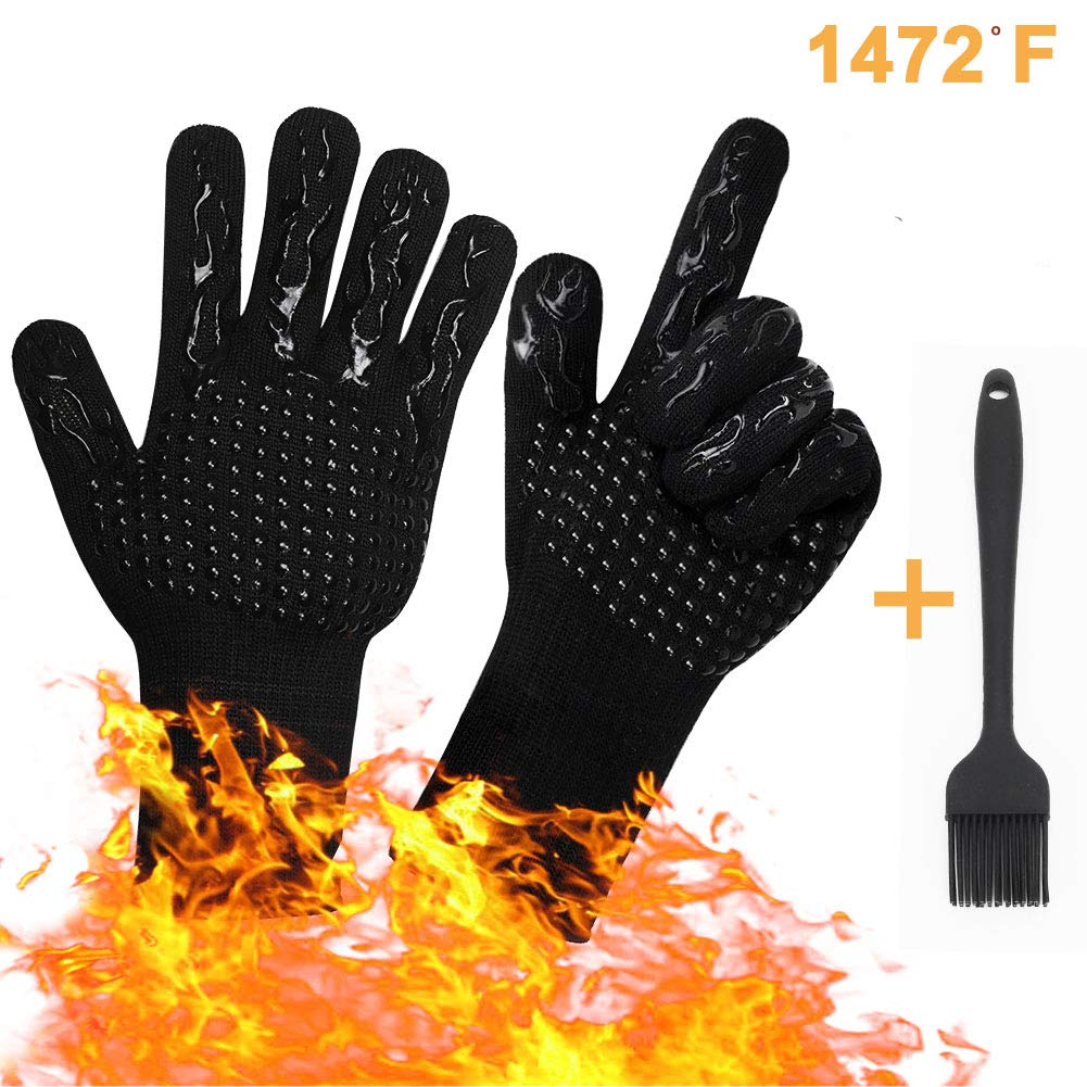 Tuansheng BBQ Grill Gloves, 1472℉ Extreme Griller Heat Resistant Oven Mitts Glove Silicone Non-Slip for Barbecue, Cooking, Baking, Grilling, Kitchen Pot Holder