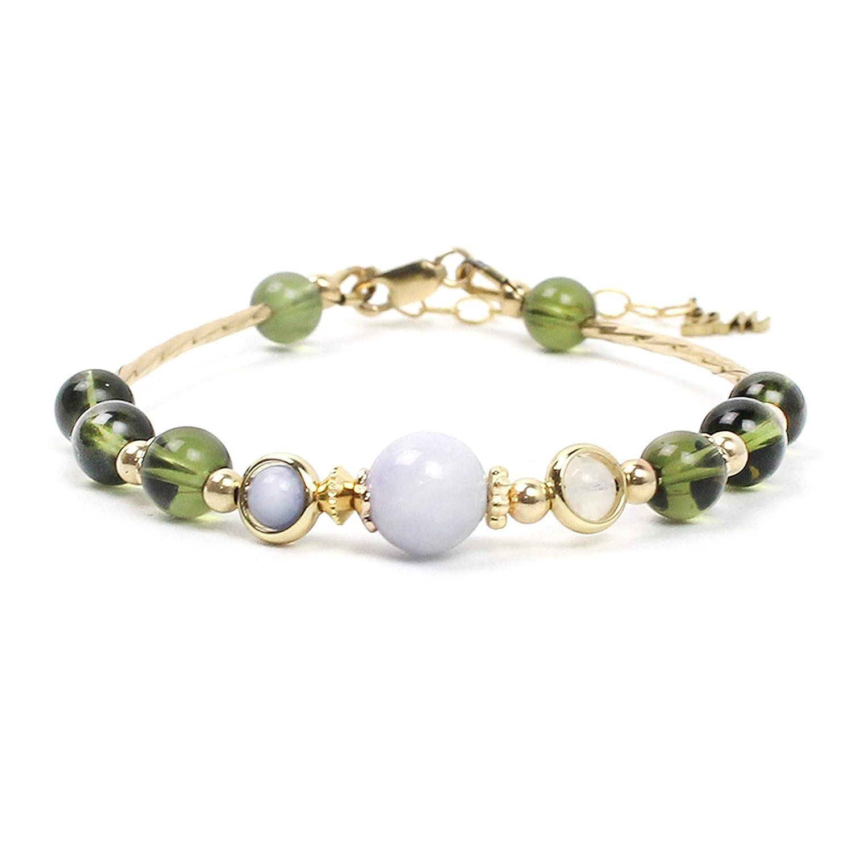 Alien 14k gold filled Handmade Natural Jade Tanzanite Rainbow Moonstone Moldavite Confidence Positive energy Protection Energy Stone Bracelet