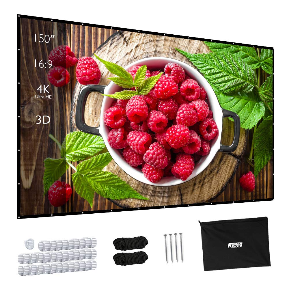 150 Inch Portable Projector Screen Upgraded 16:9 HD Foldable Movie Screen for Home Theater Anti-Crease Portable Cinema Wedding Party Office Presentation by JWST