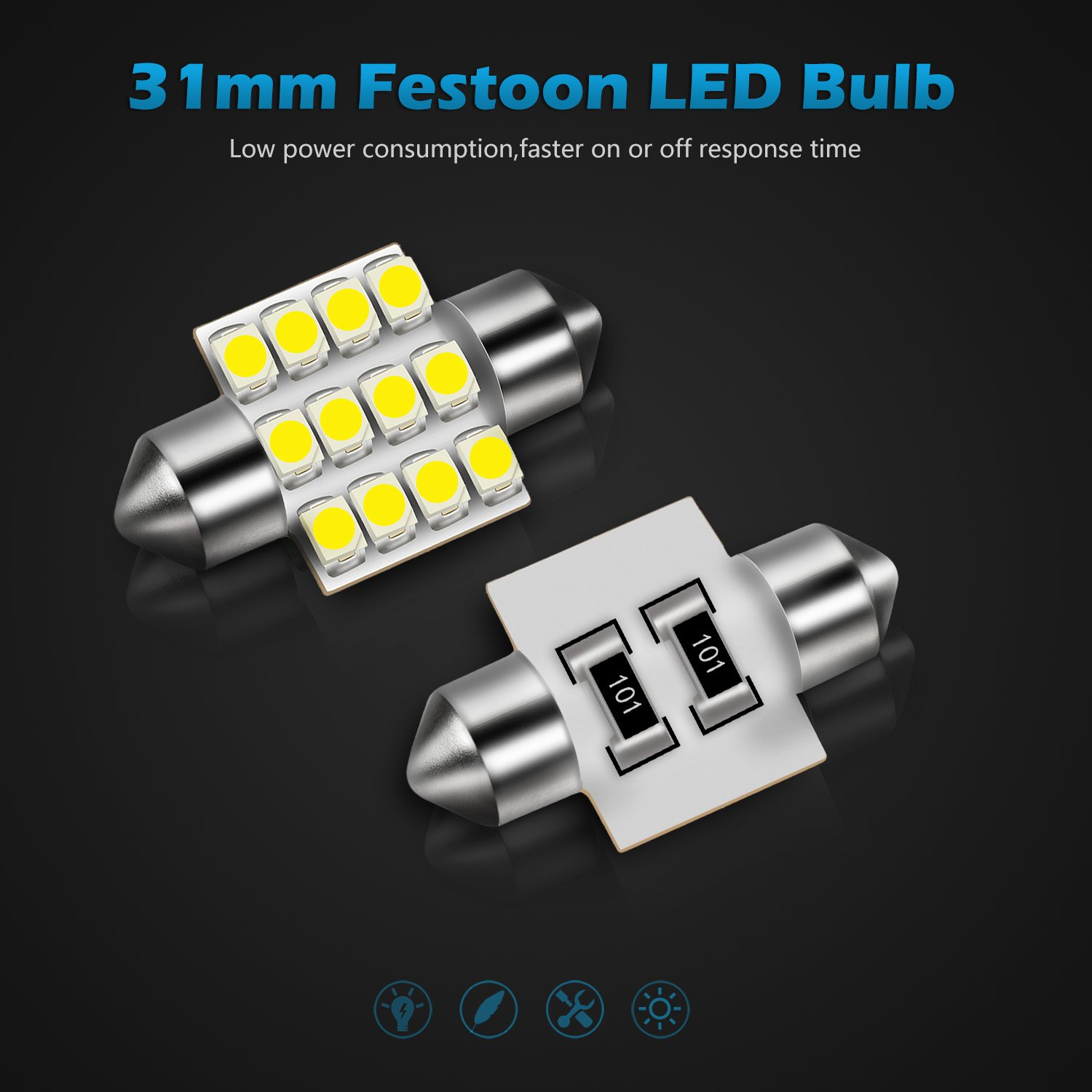 Partsam 31mm Canbus Error Free Led Light Bulbs For Car Interior Lights Delay Map Dome Door Courtesy De3021 3175 White 4pcs Automotive