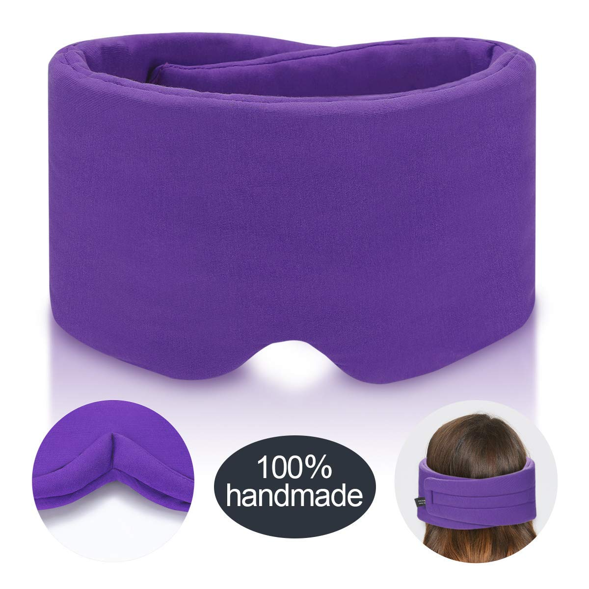 Handmade Cotton Sleep Mask - Nose Wing Design Sleeping Eye Mask Comfortable and Adjustable Blinder Blindfold Airplane with Travel Pouch - Night Companion Eyeshade for Men Women (Purple Cotton)