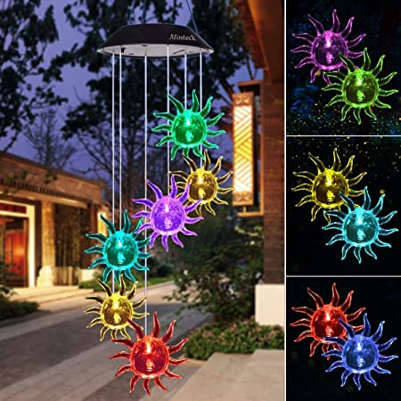 Mosteck Wind Chimes Outdoor Sunflower Color Changing Christmas Lights Solar  Wind Chime Mobile Windchime Best Birthday Gifts for Mom or Friends, ...