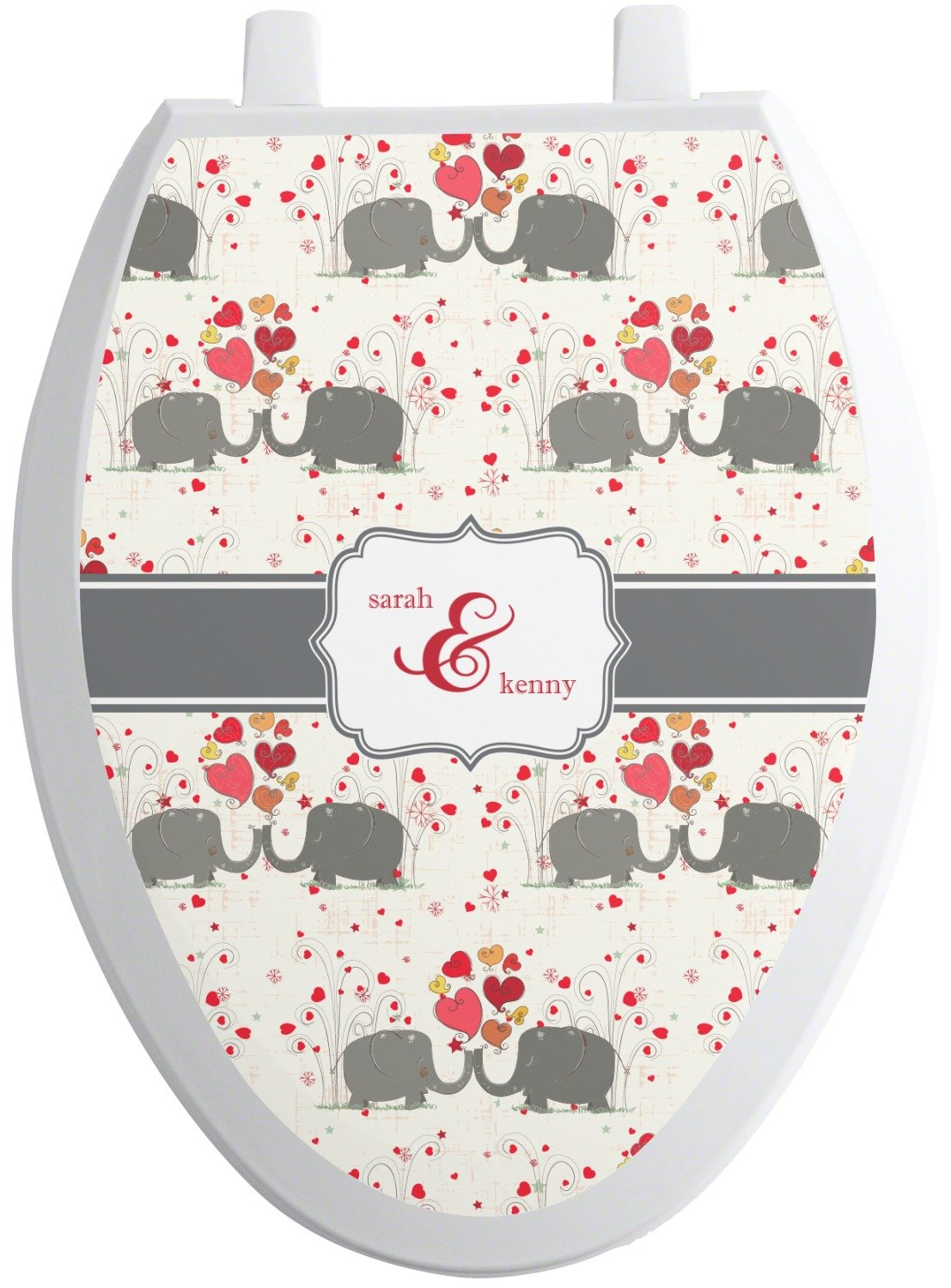 RNK Shops Elephants in Love Toilet Seat Decal - Elongated (Personalized) by RNK Shops (Image #1)