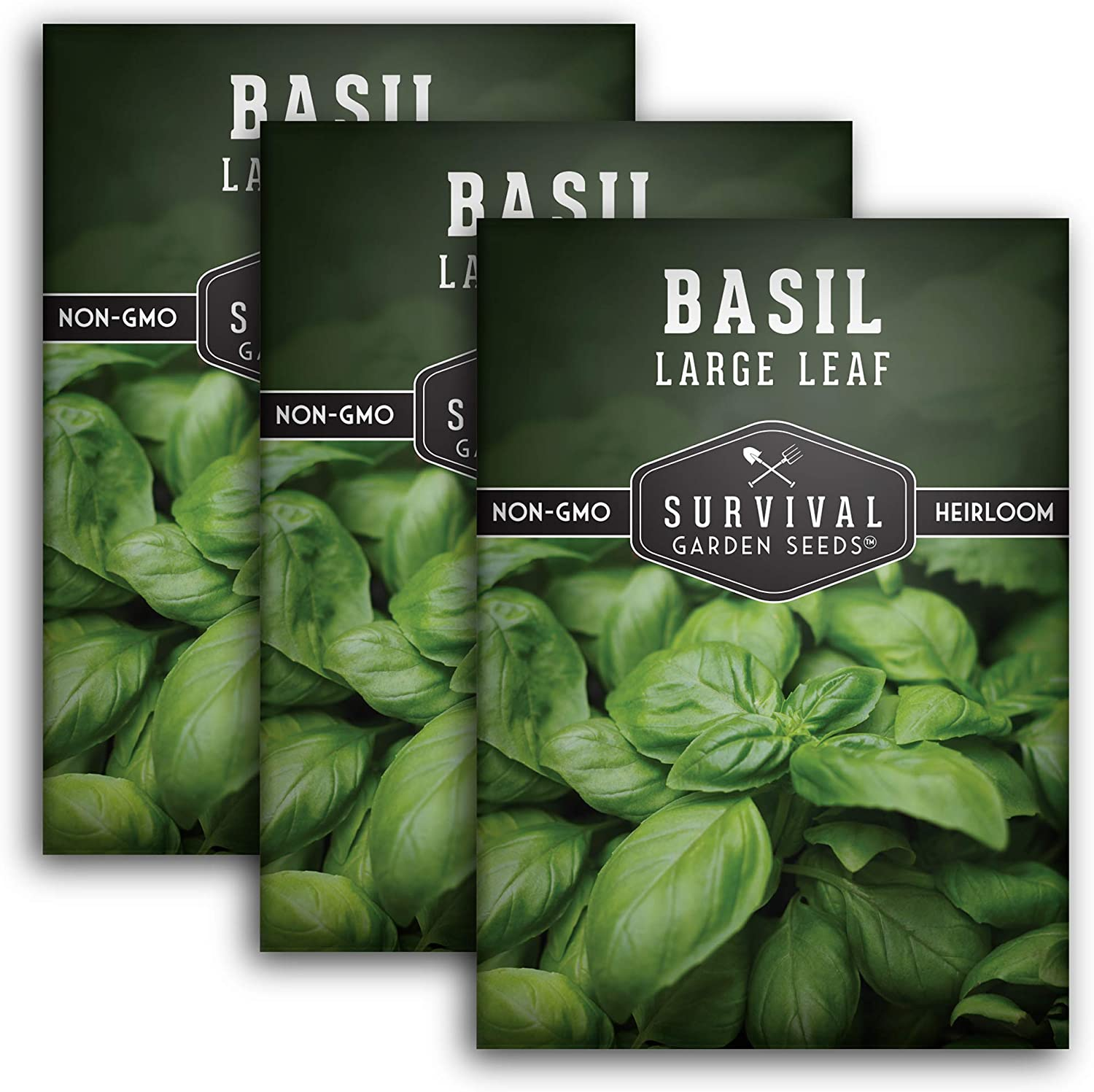Survival Garden Seeds - Large Leaf Basil Seed for Planting - 3 Packets with Instructions to Plant and Grow in Your Home Vegetable Garden - Non-GMO Heirloom Variety