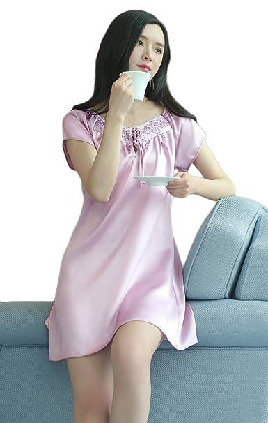 Verano De Manga Corta Pijamas De Seda Sexy Ladies Sweet Loose Camisón De Moda Confort Ropa