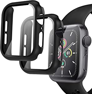 Arae Compatible for Apple Watch Series 6 5 4 SE 40mm Cases Full all around and overall Protection with Tempered Glass Screen Protector for Men Women-2 Packs Black