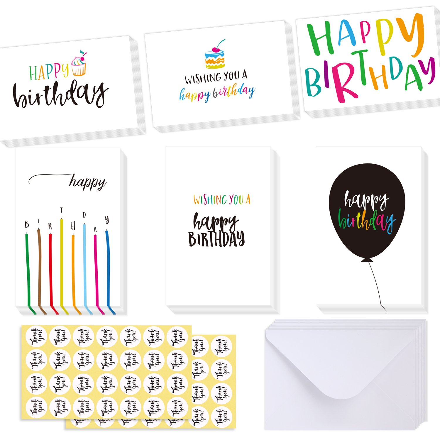 Amazon fanciful birthday wishes 36 birthday cards 6 designs ohuhu happy birthday gift cards 48 assorted folded kids birthday greeting blank note cards w kristyandbryce Image collections