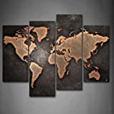 Amazon picture sensations framed huge 4 panel stone world map firstwallart general world map black background wall art painting pictures print on canvas art the picture gumiabroncs Gallery