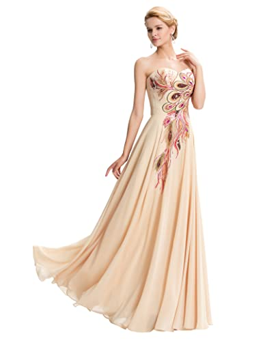 Lea Amalia Vestido de noche con plumas de pavo real para Mujer: Amazon.es: Ropa y accesorios