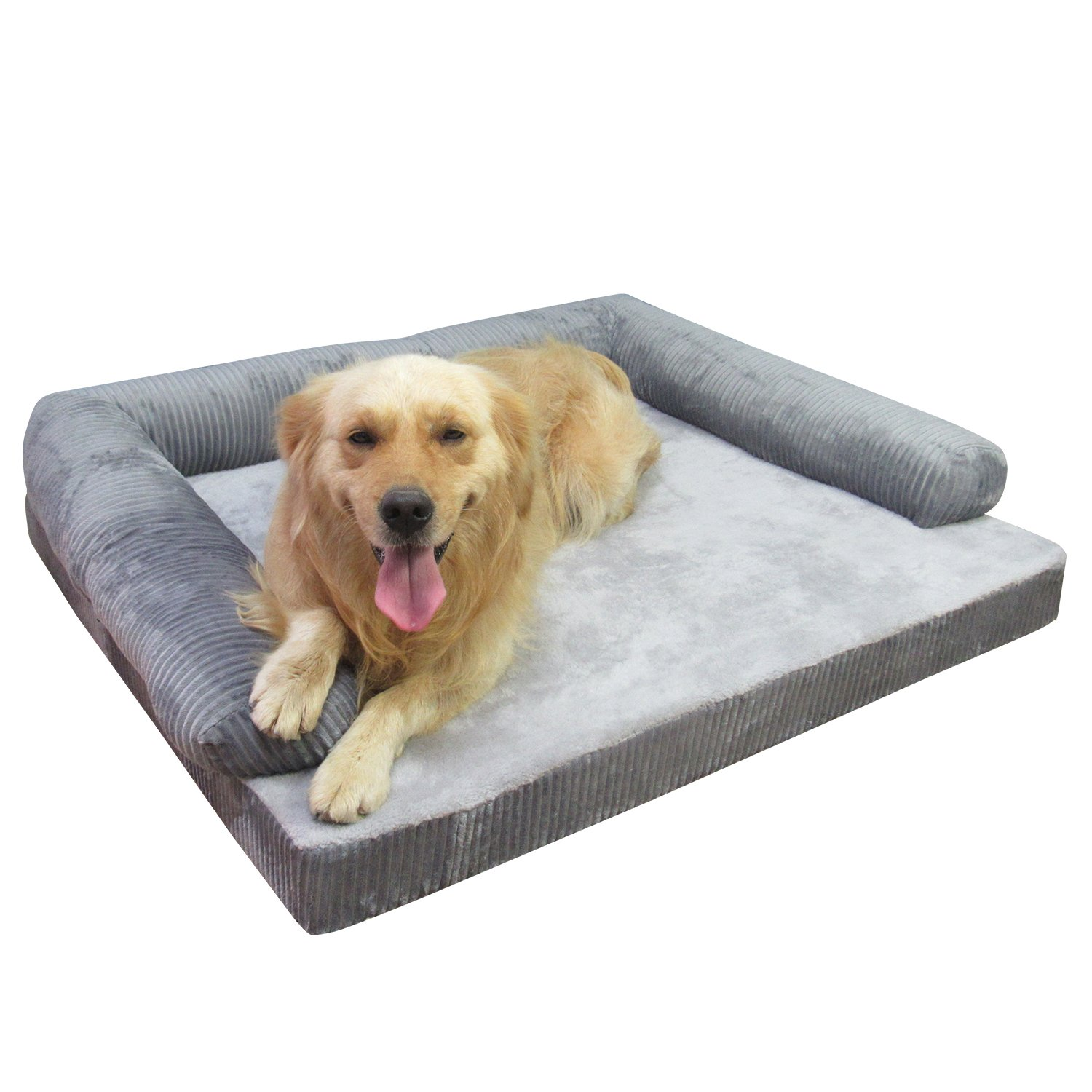 Grey Large = 90 X 75 X 10 CM Grey Large = 90 X 75 X 10 CM AcornPets® B-1411 Ultimate Large Grey 10 CM Solid Memory Foam Dog Sofa Bed Fleece 90 x 75 CM For Large Dogs, High Elasticities Slow Rebound Foam with 3 Side Handrails, Detachable and Washable