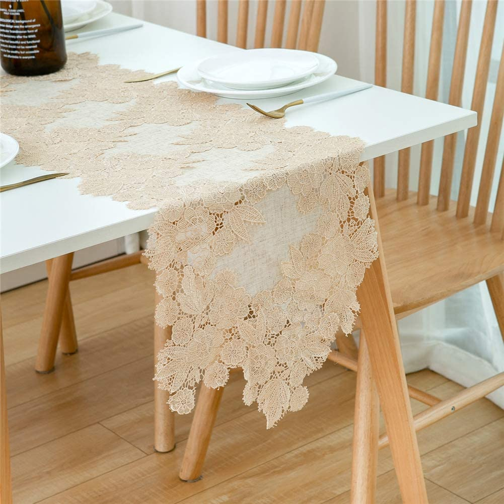 Stylish Dining Table Runner 72 inches Embroidery Table Cloth Tablecover Dresser Scarves Farmhouse Table Runners for Dining Room Home Kitchen Table Decor