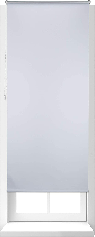 Relaxdays Estor Opaco Enrollable sin Taladrar, Tela-Aluminio, Ancho Tejido 86 cm, 90 x 210 cm, Blanco, 90 x 210