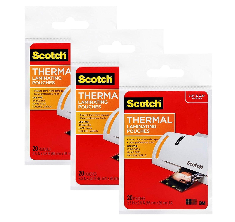 Amazon.com: Scotch Laminating Pouches, tamaño de 2,5 x 3.8 ...