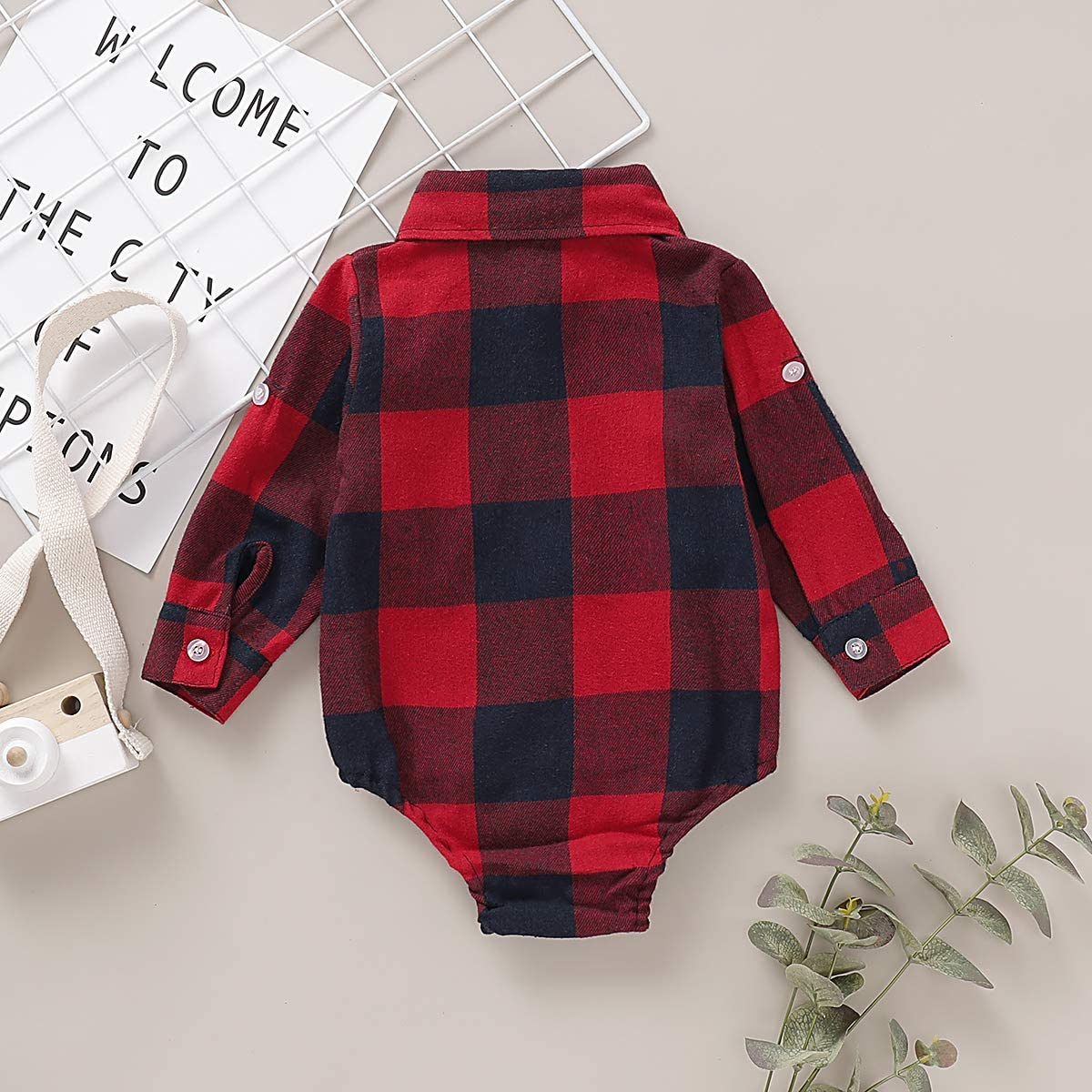 DaMohony Newborn Baby Plaid Romper Baby Boys Girls Plaid Shirt Infant Baby Long Sleeve Lapel Collar Jumpsuit