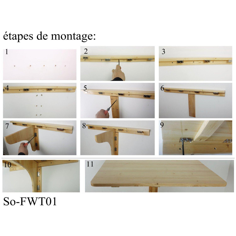 SoBuy® Mesa de cocina, mesa de madera, mesa plegable de pared, mesa de comedor, escritorio, mesa, plegable 2x, 80x60cm FWT02 (rojo)