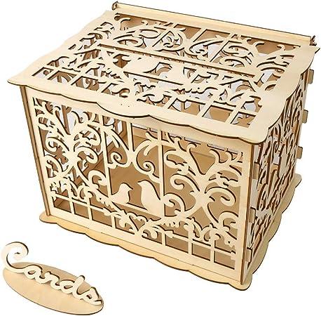 WULEI Caja de Tarjetas de Boda con Cerradura Dinero DIY Cajas de Regalo de Madera para la Fiesta de cumpleaños (C): Amazon.es: Hogar