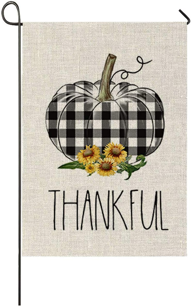 Faromily Thankful Buffalo Check Pumpkin Garden Flag Thanksgiving Day Vertical Double Sized, Fall Halloween Yard Outdoor Decoration 12.5 x 18 Inch