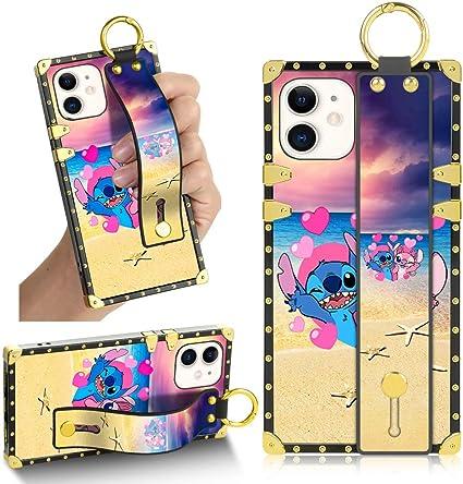 DISNEY Collection Coque pour iPhone 12 Mini 5,4 cm avec béquille de luxe carrée résistante aux chocs pour iPhone 12 Mini 5G 2020 (Couple Stitch Beach ...