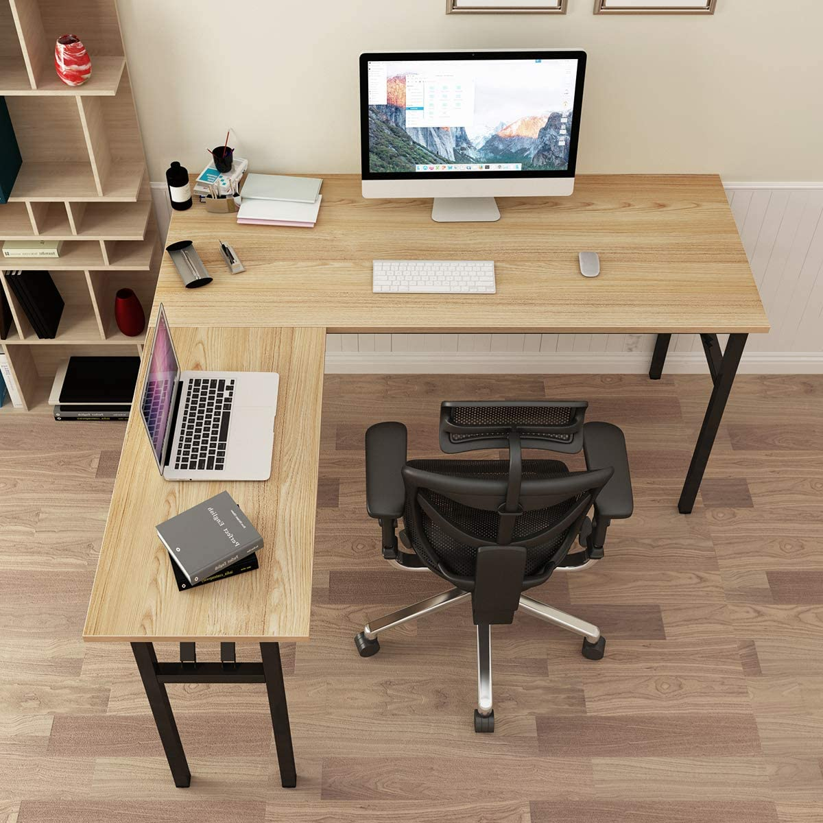 SogesPower L-Shaped Computer Table Home Office Desk Computer Desk Multifunctional Desk Workstation, Meeting Desk, Large Study Desk, Studio Table, Teak Top & Black Legs, SPND-AC11BB