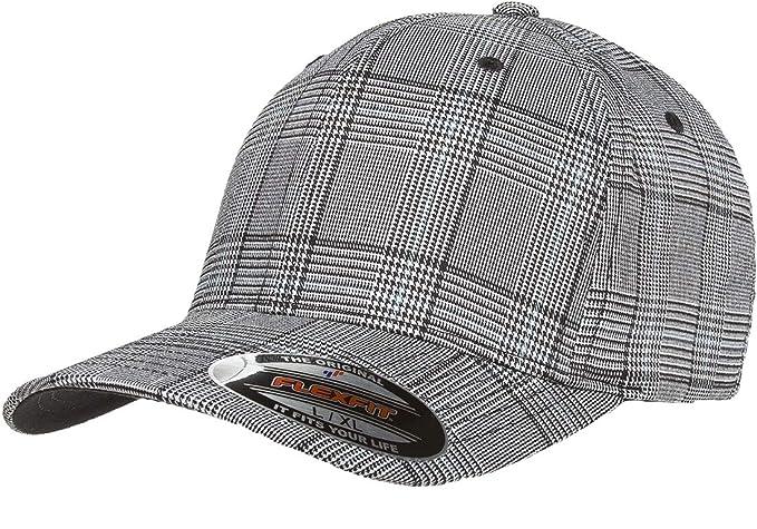 ce5df7235 Original Flexfit Glen Check Plaid Hat Baseball Blank Cap Fitted Flex Fit  6196 Large/Xlarge - Black / White