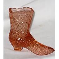 Vintage 1990's Fenton Art Glass Pink Mauve Daisy & Buttons Boot Shoe Figurine - 4 x 4 1/2