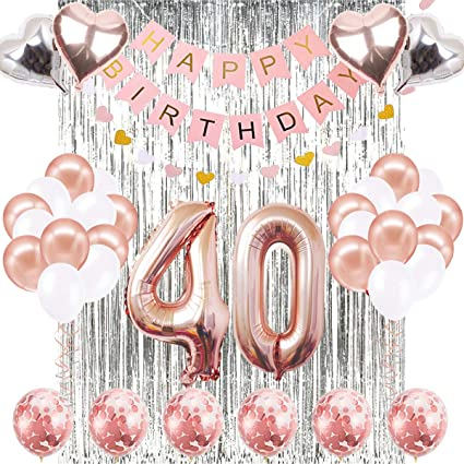 40th Birthday Decorations Banner Balloon, Happy Birthday Banner, 40th Rose Gold Number Balloons, Number 40 Birthday Balloons, 40 Years Old Birthday ...