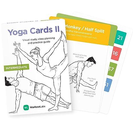 WorkoutLabs Tarjetas plásticas de Yoga con Lengua sánscrito para intermedio Estudio Visual, secuenciación de Clases, práctica con posturas, Ejercicios de respiración y meditación