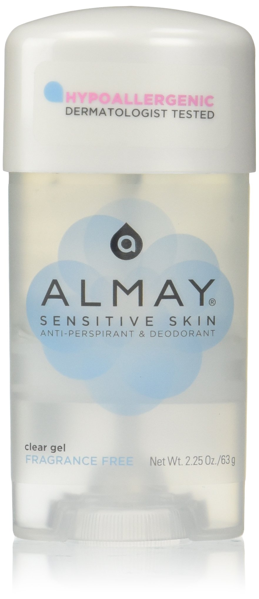 Almay Sensitive skin Clear Gel, Anti-Perspirant & Deodorant, Fragrance Free, 2.25-Ounce Stick (Pack of 6)