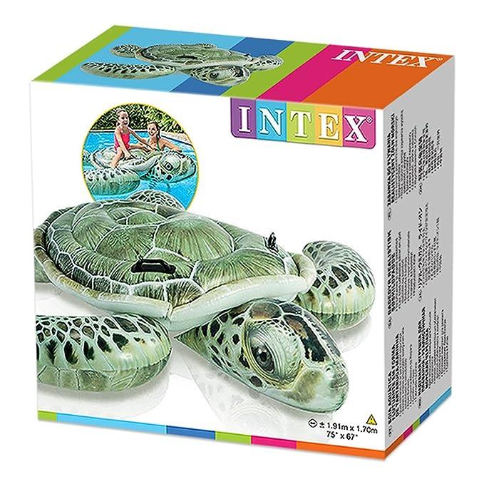 Intex 57555NP - Tortuga hinchable efecto realista con 2 asas 191 x 170 cm